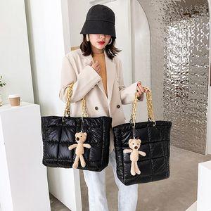 New Fashion Feather Handbag Thick Chain Shoulder Bag Women Underarm Bag Two Style Big Capacity Lady Totes Sister Shopping Bag