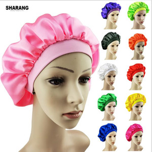 Elastic Muslim Women Wide Silk Satin Breathable Bandana Night Sleeping Turban Hat Hot Solid Color headwrap Bonnet chemo cap Hair Accessories