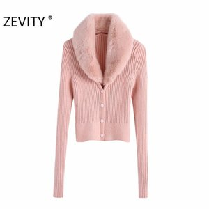 Zevity Women Fashion Faux Fur V Neck Patchwork Cardigan Knitting Sweater Female Chic Long Sleeve Single Breasted Slim Tops S429 201119