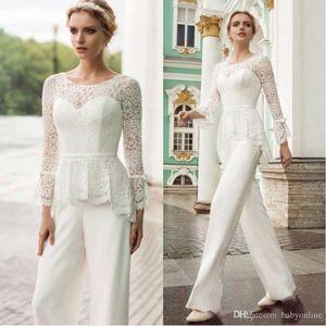 Vintage beyaz anne gelin damat pantolon takım elbise resmi anne fırsat elbise dantel üst uzun kollu anne akşam parti tulum