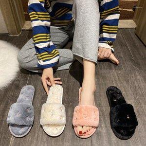 Noworry Donne Pantofole Shoes Winter Shoes Flat Sweet Home Pantofole Donna Interno Pelliccia Calda Soft Soft Slip on Nero Rosa Grigio Femmina Slipper1