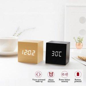 LED Wooden Clock Digital Alarm Clocks Desktop Table Clocks Electronic Temperature Display Home Bedroom Bedside Office Decor