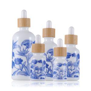 Синий и белый фарфоровая эфирное маслофюмерные флаконы с бамбуковой крышкой жидкий реагент пипеткой ароматерапия капельницы бутылка 10 мл-100 м DHA3091