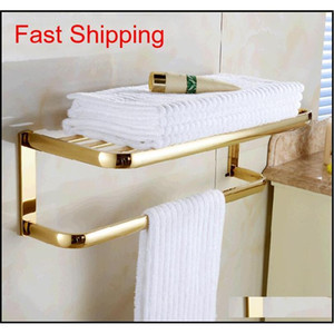 Wholesale And Retail Modern Square Two Layers Towel Rack Holder Shelf Solid Brass Golden Finish Clothes Shelf Hooks With Towel Bar Do6Cv