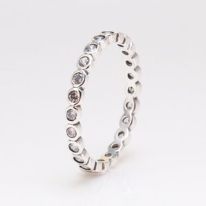 Hot Sale 100% 925 Sterling Silver Rings CZ Circle Round Finger Rings For Women Wedding Party Jewelry Dropshipping