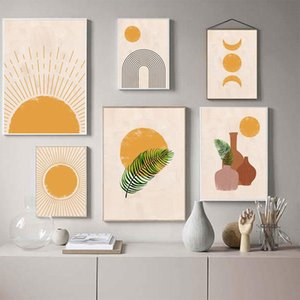 Boho Wall Art Canvas Painting Sun Moon Plants Imprime Abstract Terracotta Gallery Photos Nordic Pôsteres Decoração da sala de estar