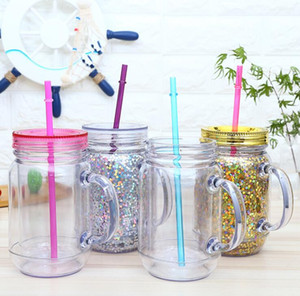 Cheapest 16oz Plastic Mason jar Juice Beverage Drinking Tumbler with handle Mason cans 16oz double walled Plastic Cup with straw DHF1749
