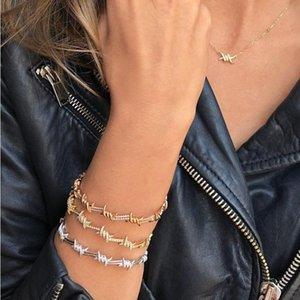Moda 2021 New Women Jewelry Micro Pave Clear Cubic Zirconia CZ Alambre de púas Abra Brazalete Pulsera