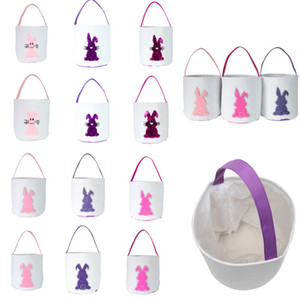 Easter Egg Basket Holiday Rabbit Bunny Storage Bags Cute Sequin Canvas Kids Girls Boys Gift Carry Eggs Candy Bags