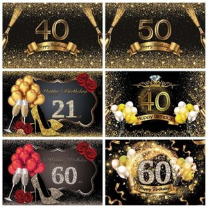 Vinyl Birthday Backdrops For Photography Happy 30 40 50 60th Party Beer Golden Dots Celebration Portrait Photo Backgrounds1