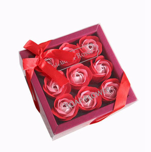 Valentine Day Rose Gift 9 Pcs Soap Flower Rose Box Wedding Mother Day Birthday Day Artificial Soap Rose Flower GGE3829-2