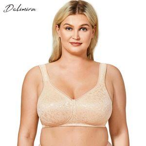 DELIMIRA Women's Lace Wireless Smooth Bra Minimiser Plus Size Unlined Comfort