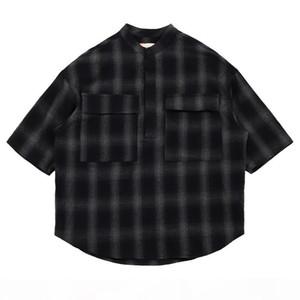 20ss Spring Autumn Fashion Fear Of God 6th Plaid Half Button Cotton Shirt Men Women FOG Short Sleeve Casual Shirt
