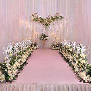 Peacock peony hydrangea party wedding bouquet flower arrangement silk artificial flower row decor iron arch backdrop 50 100cm