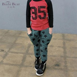 Binbi Bear Children's Clothing Spring Models Boy Kids Baggy And Girls Five-star Printing Children Cotton Harem Pants Trousers
