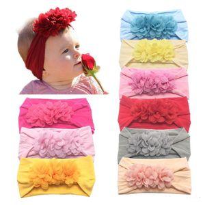 Baby Girl Soft super Nylon Headbands Hair Accessories for Girls Chiffon Flower hairbands Kids Toddler Childrens Head Wrap