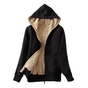 Hoodies Jacket Female 2020 Women's Casual Winter Warm Long Sleeve Sherpa Lined Zip Up Hooded Sweatshirt Plush Coat