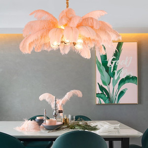 Nordic Light Luxury Chandeliers Creative Clothing Ctore G9 All Copper LED Hanging Lamp Romantic Princess Bedroom Ostrich Feather
