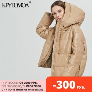 KPYTOMOA Women Fashion Thick Warm Faux Leather Padded Jacket Coat Vintage Long Sleeve Oversized Parka Female Outerwear Chic Tops Q1119