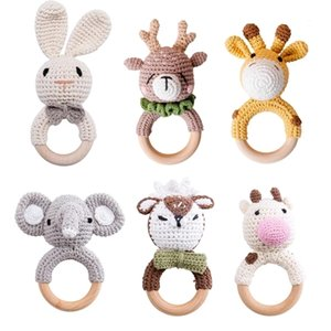 1Pc Wooden Baby Teether Crochet Elephant Rattle Toy BPA Free Wood Rodent Rattle Baby Mobile Gym Newborn Stroller Educational Toy Q1214