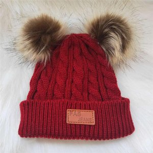 2020 Baby Stuff Accessories Cute Winter Warm Kids Girls Boys Baby Solid Hats Knitted Wool Hemming Caps With Fuzzy Ball
