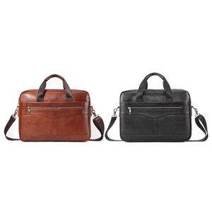 Paquete Men's Business Mail Handbag Portátil Tío Tío 14 pulgadas bolsa de cuero PI OFICINA OFICIAL LEMGJ