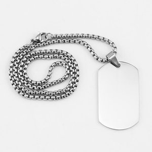100% Stainless Steel Dogtag Pendant Necklace For Engrave Metal Plate Collar Token Blank Army Ketting Mirror Polished1