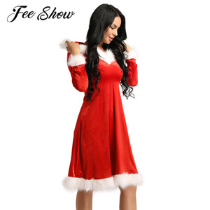 Red Christmas Soft Velvet Mother Daughter Dress V-neck Long Sleeves Hooded Christmas Theme Party Mrs Santa Claus Costume Dress F1202