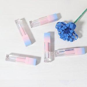 200 unids / lote cuadrado labio vacío tubo de brillo gradiente de plástico azul elegante lápiz labial líquido envases cosméticos de 5 ml de muestra de mar, envío marítimo HWE3028
