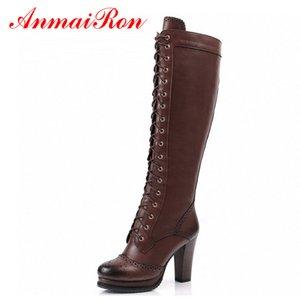 Annairon di alta qualità sexy stivali invernali donne coscia stivali alti nuovo lace up ginocchio boot boot tacchi alti tacchi alti retrò cavaliere stivali c0202