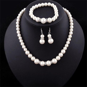 Pearl Necklace Jewelry Sets Elegant Charm Women Beaded Bracelets Gifts Personality Collarbone Ear Studs Ornaments Suit 2 8xq M2
