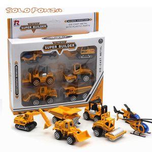 6 Pcs Vehicles Construction Car Model Alloy Metal Diecast Model Car Excavator Truck Toys for Children Boy metal diecast Toys Z1124