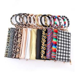 Leopard Print PU Leather Tassel Bracelet Double Layer Women's Keychain Wallet Card Bag Mobile Phone Bag Clutch Wallet designer handbags 8833