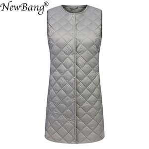NewBang Brand Ultra Light Down Vest Women Long Vest Windproof Lightweight Warm Waistcoat Female Down Coat Long Slim Sleeveless 201120