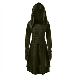 Women Costumes Lace Up Hooded Vintage Pullover High Low Bandage Long Dress Cloak Halloween Costumes For Women Dress