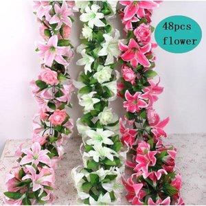 """Silk Rose Lily Vine 160CM / 62.99 """"Длина Искусственные цветы Розы Лилии Rattan Цветочная тросточка 3 Цвета для свадебного центра"""