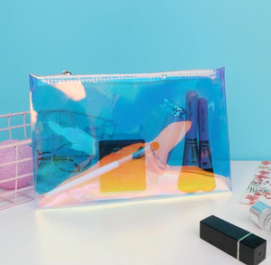 3 шт. Женщины лазерная прозрачная водонепроницаемая на молнии косметическая сумка