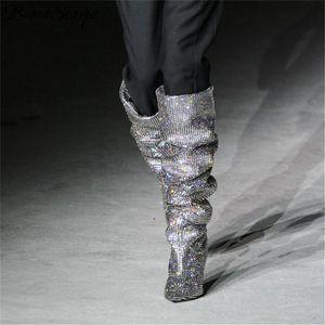 Heißer Verkauf Prova Perfetto Frauen Zeigen Zeug Bling Bling Bling über Knie Strassstiefel Stiefel Kristall Lange High Heel Boots Luxus dünne Fersenstiefel