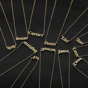 Wholesale Personalized Letter Zodiac Necklace Constellation Necklaces Custom Stainless Steel Old English Necklace Birthday Jewelry Gifts