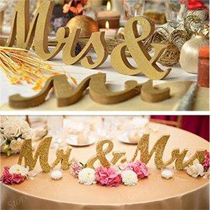 Segno di ricevimento di nozze Segno Bianco oro nero Lettere di legno MRS MRS Tabella Centrotavola decorazione della festa di nozze Anniversary Present1