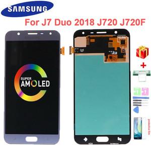 SAMSUNG GALAXY J7 DUO 2018 için Süper AMOLED LCD J720 J720F SM-J720F SM-J720M SM-J720F / D Ekran Dokunmatik Ekran Digitizer Meclisi