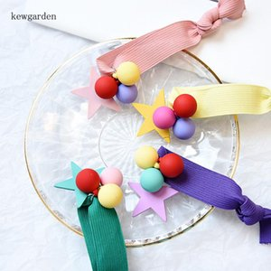 Kewgarden Cotton Ball Star Hair Accessories Elastic Hair Bands Kids Girls Ponytail Rope Ring Headwear 4 Pcs