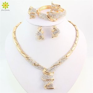 Wholesale Fashion Gold Color Alloy Rhinestone Wedding Jewelry Sets Necklace Bracelet Ring Earrings For Women Bridal Q1123