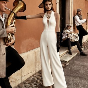 New Wedding Jumpsuit 2021 Satin Halter Neck Beach Wedding Dresses Ankle Length Cheap Bridal Outfit Vestido De Noiva