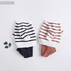 Newborn Girl Autumn Kniited 100% Cotton Clothes Stripe Baby Clothing Set For Boy Outfits Y1113