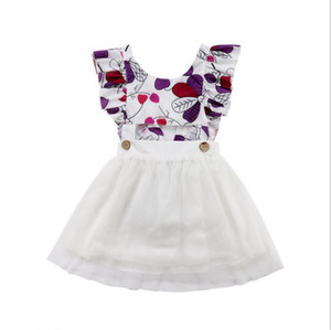 Kids Clothes Girls Dress 2019 Summer Ruffle Short Sleeve Toddler Girls Flower Princess Backless Tulle Dress Baby Girls Clothes