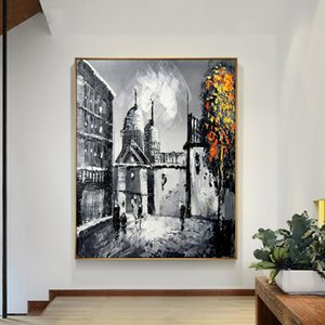 Abstract Big Building Painting 100% Hand Painted Oil Painting On Canvas Abstract Figure For Living Room Home Decoration