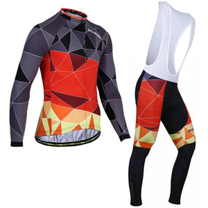 Winter Cycling Suit Men Plush Long-Sleeved Strap Set Riding Trousers Cycling Jersey Bike MTB Bicycle Men's Outdoor Sportswear
