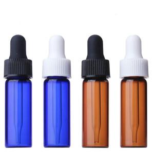 CLEAR AMBER Blue Verre 4ml rechargeable bouteilles de verre vides d'aromathérapie Conteneur d'aromathérapie Bouton d'huile essentielle Bouteille d'huile pour Voyage GWD3170