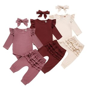 Newborn Baby Girl Clothes Autumn Infant Baby Clothes Outfits Knitted Bodysuit Top Romper Ruffle Pants Headband 3pcs Clothing Set 201201